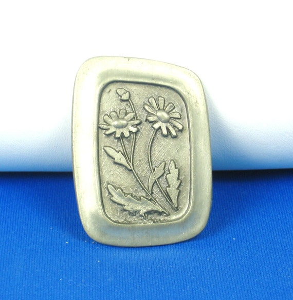 Rune Tennesmed Sweden Modernist Pewter Floral Pin