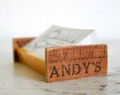Repurposed Desktop Business Card Holder - Vintage Parts
