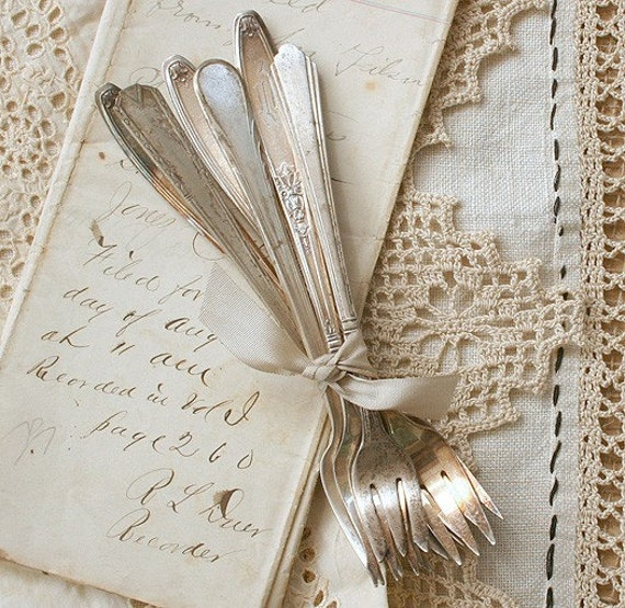 6 Vintage Mixed Silver Plate Cocktail or Relish Forks