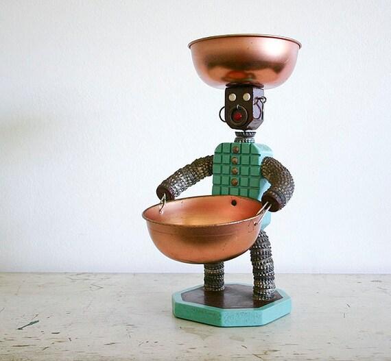 Handmade folk art bottle cap man found objects sculpture for Depot outlet bochum