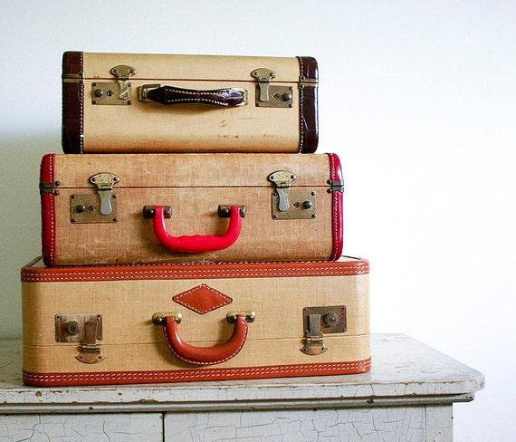 Vintage Tweed Suitcase with Red Trim