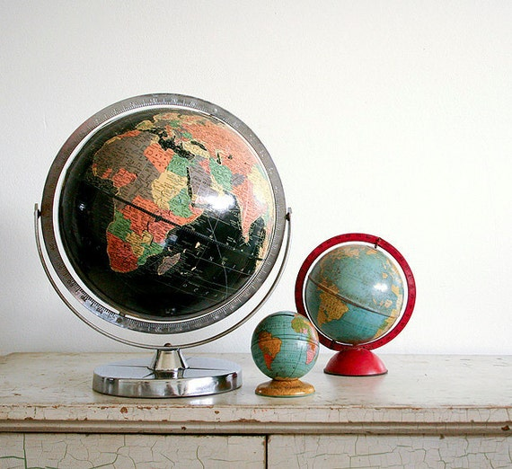 Vintage Black Oceans Globe - 1960 Replogle Starlight Globe