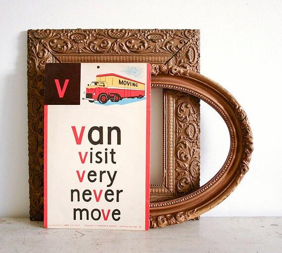 Vintage Jumbo Illustrated Classroom Flash Card - Van