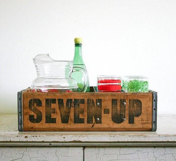 Vintage Wooden Soda Crate or Repurposed Beverage Caddy