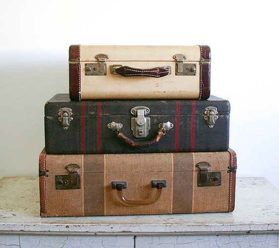 Vintage Suitcase - Brown with Red Stripes