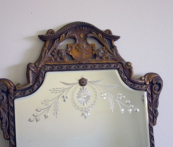 Vintage Etched Mirror With Fancy Gold Frame