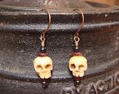 Earrings- Bone Skulls with Garnet, Jet, and Obsidian