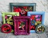 Bountiful Botanicals - Fall Collection - Upcycled Vintage Framed Fabric Art Collection