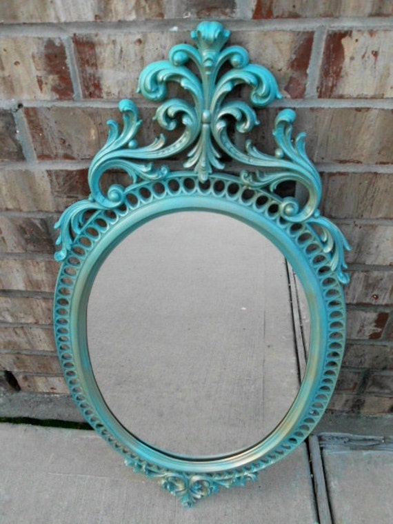 Vintage - Upcycled - Hollywood Glam - Taunting TEAL - Architectural Decorative Wall Mirror - Boho Chic