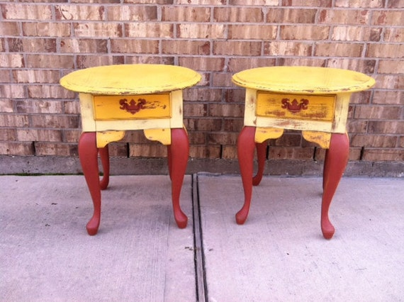 Upcycled Set - French Provencial Country  - Wooden Nightstands - Side - End Tables - YELLOW KICK - Drawers - Chic