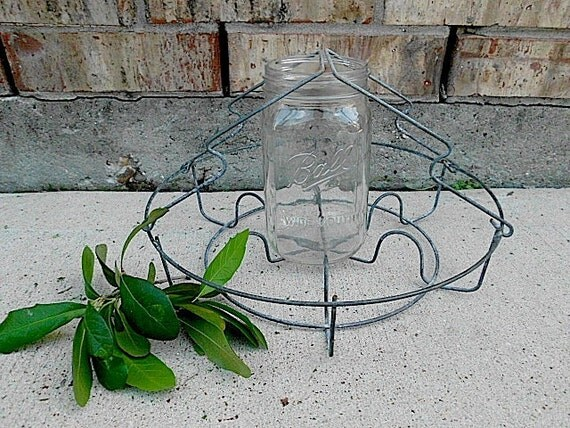 Old Rusty Metal Ball Jar Holder - Carrier - Farmhouse Finds - Rustic Home Decor - Upcycle Repurpose - Pendent Light