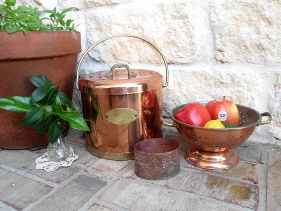 Vintage - French Country Kitchen - Copper Ice Bucket - Strainer - Embossed Planter - Instant Collection - CHIC