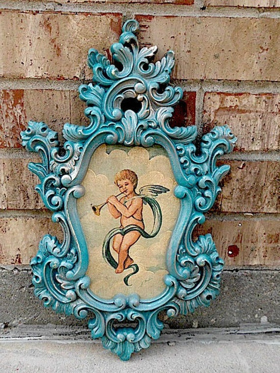 Vintage - Upcycled - Taunting TEAL - Architectural Decorative Picture Frame - Victorian Shabby Cottage CHIC