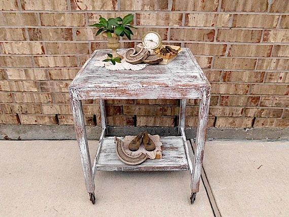 Chic White - Prairie Country Cottage - Upcycled - Vintage Media Cart  - End - Side Table - Nightstand - Casters