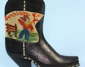 Wooden Cowboy Boot Pin Hand Painted Gunnison Colorado Souvenir