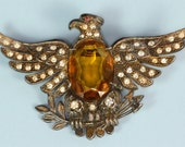 Vintage Patriotic Jelly Belly Style Eagle Brooch with Rhinestones