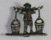 Asian Water Carrier Vintage Brooch Pin Sterling Silver Figural