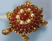 RESERVED For S    .HAR Turtle Brooch Faux Coral Faux Pearl and Topaz Rhinestone Vintage