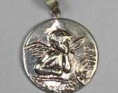 Cherub Cupid  Angel Pendant Sterling Silver Vintage