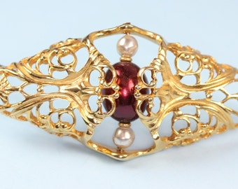 "Filigree Faux Pearl Brooch ""Worldly Temptations""  Napier 1985 Large Diamond Shaped Burgundy Pearl"