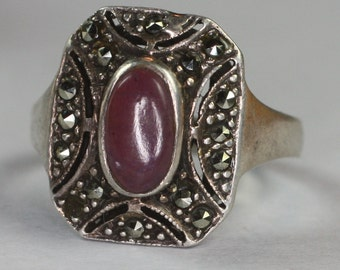Lavender Gemstone Ring Marcasite Sterling Art Deco Style Size 6