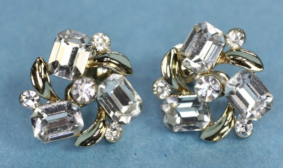 Vintage Crystal Earrings Clear Stones Screwback Signed Lisner
