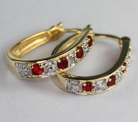 Vintage Hoop Earrings Crystal CZ Red Stone Gold Plated Sterling Pierced Ears