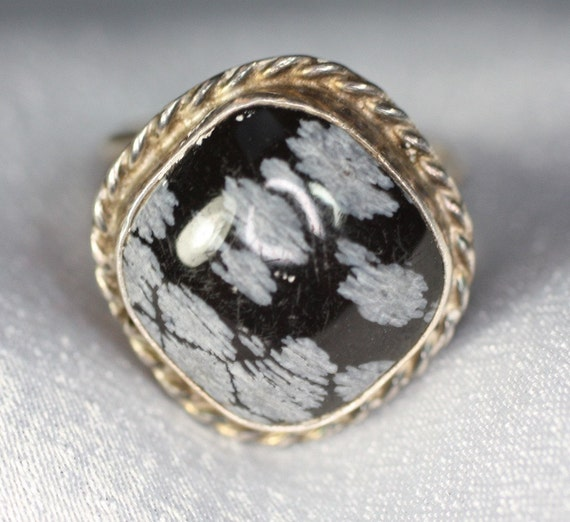 Vintage Ring Snowflake Obsidian Sterling Silver