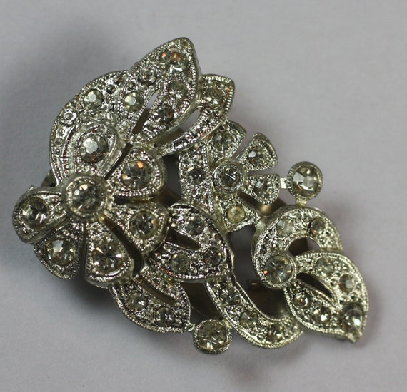 Vintage Dress Clip Art Deco Crystal Clear Rhinestone Floral Design