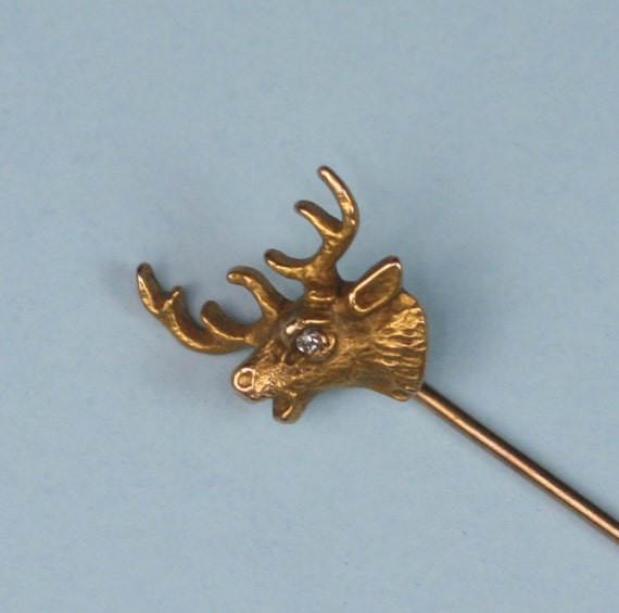 Vintage Gold Stickpin Elk Design 14K 10K Gold and Diamond