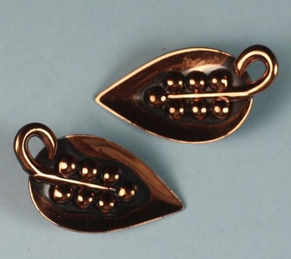 Vintage Copper Earrings Leaf Shaped Clip Earrings
