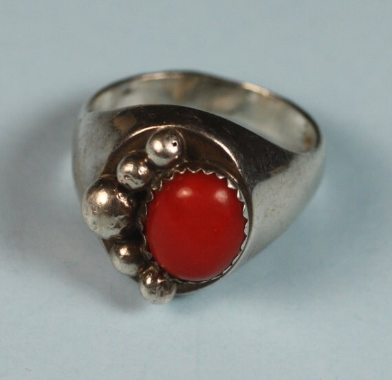 Vintage Coral Ring Sterling with Coral Cabochon Native American Signed