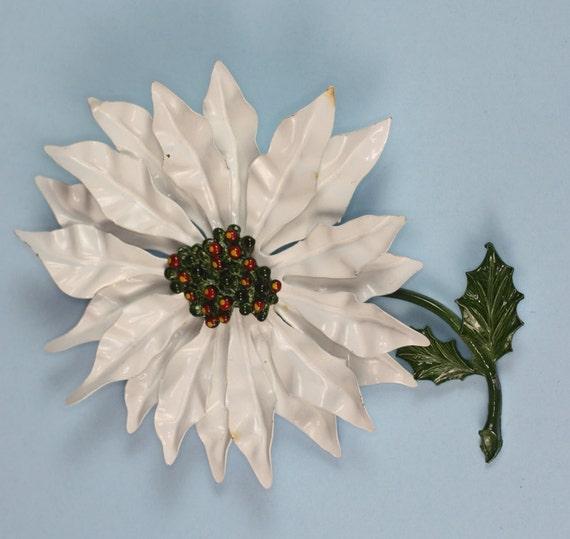 Vintage Poinsettia Brooch White Enameled Large Floral 1960s Mad Men Era