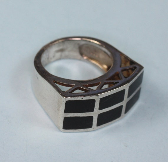 Vintage Onyx Ring Inset Stone Sterling Silver Bold Chunky
