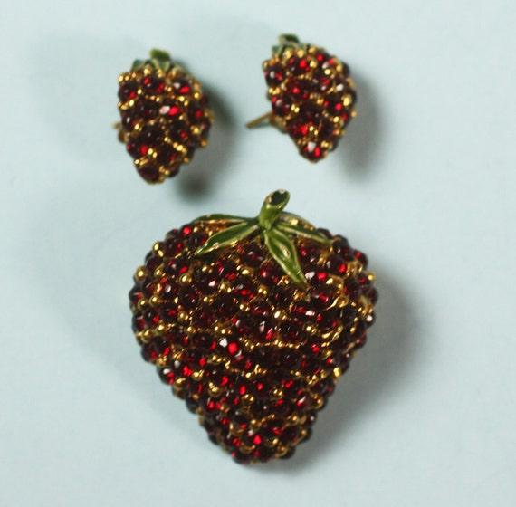 Vintage Red Rhinestone Strawberry Pin Earrings Set
