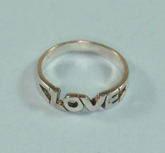 Vintage LOVE Motif Ring Sterling Silver