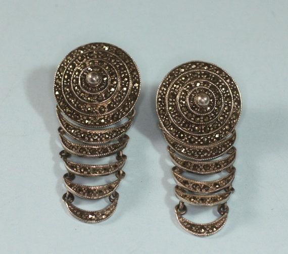 Vintage Marcasite Earrings Sterling Silver Long Dangle Posts