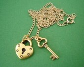 Gold Lock and Key Necklace