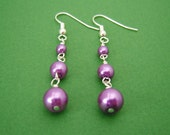 Purple Dangle Pearl Earrings