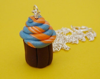 Blue & Orange Swirly Cupcake Necklace