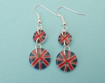 Union Jack Button Earrings
