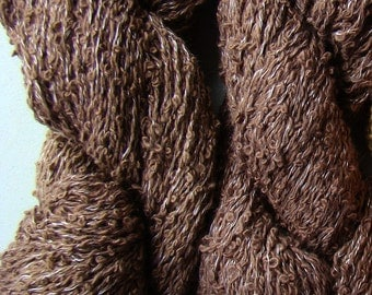 Warbler, Hand-dyed cotton boucle yarn - Brown Semi Solid