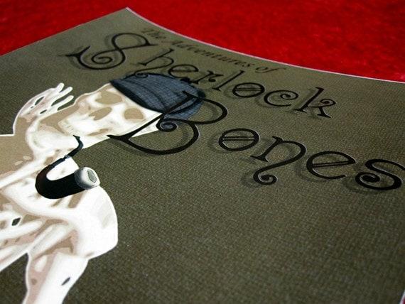 Sherlock Bones Digital Art Print 8x10 Literary Art Book Cover