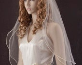 Wedding veil - 2 layer waist length bridal veil with satin cord trim and blusher