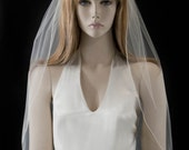 Wedding veil -30 inch Waist length bridal veil with delicate finished edge