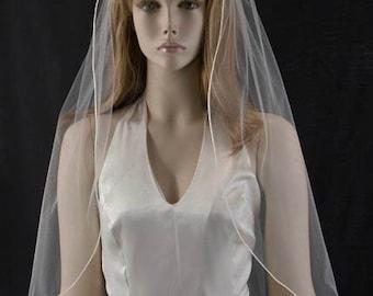 Wedding veil - 30 inch waist length bridal veil with satin cord edge