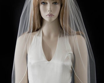 Wedding veil - 30 inch waist bridal length veil with a delicate finished edge