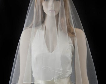 Wedding veil - 2 layer drop veil with a finished edge - fingertip length