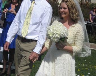 Wedding Veil - 30 inch Waist Length Veil with lace trim on the bottom edge