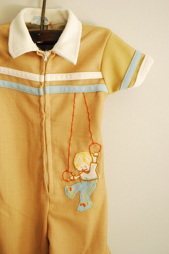Irresistible Little Vintage Jumpsuit with Gymnast applique